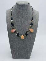 Vintage Art Deco Metalwork Pink Agate Gemstone Black Bead Collar Necklace