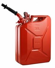 2 New Wavian Steel Jerry Can - 20L (5 gallon) - Red Color - W/Nozzle. NATO Spec!