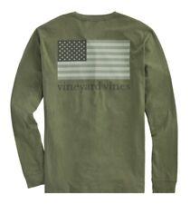 Vineyard Vines Mens Long Sleeve Tonal US Flag T Shirt Moss Green Sz LRG Nes