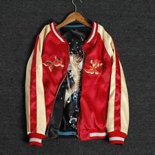 Men's Satin Embroidery REVERSIBLE Souvenir Flight Jacket Japanese Sukajan Coat