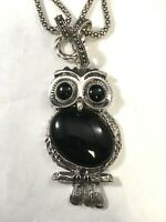 Owl Necklace with Faux Black Stone Pendant Silver Costume Jewelry