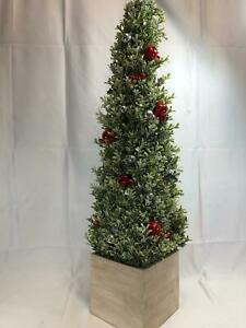 """36"""" Glistening Boxwood Topiary with Berries & Ornaments by Valerie"""