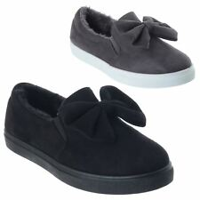 WOMENS LADIES COMFY FUR LINED FLAT SLIP ON SKATER BOW TRAINERS PUMPS SHOES SIZE