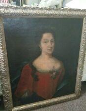 Large Antique Fine Oil 19th Century Portrait Lady