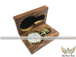 Nautical Handmade Brass Timekeeper Pocket Watch With Wooden Box Grandfather Gift