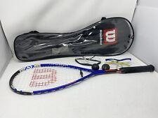 Raqueta Wilson Titanium Ti poder Squash, 2 Gafas 2 bolas, Azul Con Estuche