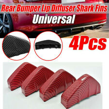 4x Universal Red Carbon Fiber Look Car Rear Bumper Lip Diffuser Shark Fins Cover