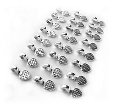 24 Small Silvertone HEART Glue on Bails 16 x 8 x 1 for Pendants Cameos Tiles.