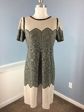 YOANA BARASCHI Anthropologie M L Black Beige lace Shift Dress Career Cocktail  *