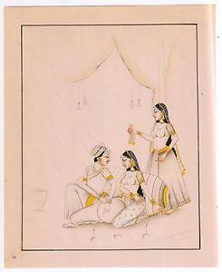 Mughal Harem Erotic Life Scene Art Painting Paper Mogul Wall Hanging Painting
