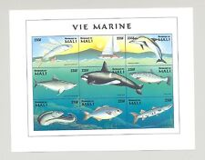 Mali #897 Fish, Whale, Dolphin 1v M/S of 9 Imperf Chromalin Proof