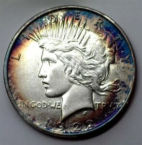 1922-D PEACE SILVER DOLLAR BRILLIANT UNCIRCULATED NICE TONING!!
