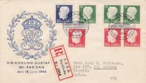 SWEDEN 1948 ROYALTY FDC REGISTERED PFFS to FLORIDA USA