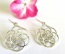 Silver seed of life earrings , flower of life earrings , kabala jewelry ,judaica