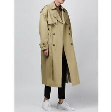 Men's Loose fit Dust coat Double breasted Lapel Fall Trench Jacket Korean Casual