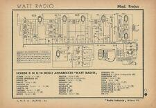 Schema Radioricevitore Watt Radio Mod. Frejus Radio Industria Milano 1942