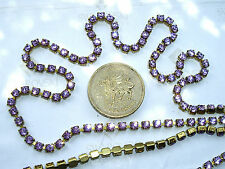 "12"" / 30cms Swarovski 12ss / 24pp Violet chatons in a goldtone cupchain / chain"