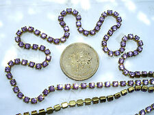 "12"" / 30cms Swarovski 12ss / 24pp Violet chatons in a goldtone cupchain"