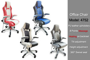 Flip up Armres Swivel Gaming Sporty Racing Office Massage Recliner Chair PU New