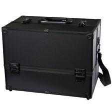 "Makeup Train Case - 14"" Large Cosmetic Organizer Box ""Adjustable Dividers"" Black"