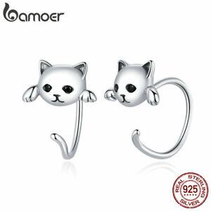 BAMOER S925 Sterling Silver Hook Earrings Black Pavé CZ Cute Cat Women Jewelry