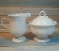 Vtg Mikasa French CountrySide White F9000 Creamer & Sugar bowl Japan cream set