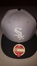 NEW ERA 59 FIFTY MLB CHICAGO WHITE SOX GREY BLACK FITTED HAT 7 3/4 NEW 20814606