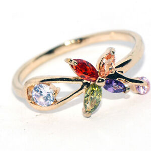 Lovely Rainbow Crystal Womens Butterfly Ring 2021 New Rings Gold Jewelry Size 9