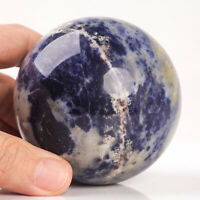512g 72mm Large Natural Blue Sodalite Quartz Crystal Sphere Healing Ball Chakra