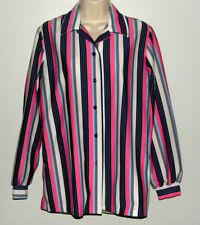 Vtg Womens Polyester Blouse Top Mod Stripe Boho Hippy Big Collar Button Front