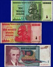 10 Trillion 100 Million Zimbabwe Dollars +5 Million Dinara Nikola Tesla Banknote