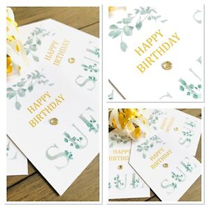 1 X Personalised Happy Birthday Gift Tag Present Tag Eucalyptus Themed Label
