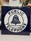 Vintage 1950's Bell System Public Telephone 2 Sided Porcelain Metal Flange Sign