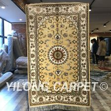 Yilong 3'x5' Yellow Handmade Classic Carpets Hand Knotted Silk Area Rug W205C