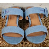 NIB New In Box $128 Anthropologie Blue Lucille Denim 7 1/2 Wedge 7.5 Sandals