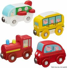 PEPPA PIG WOODEN MINI VEHICLE - PLANE, TRAIN, RED CAR,SCHOOL BUS,