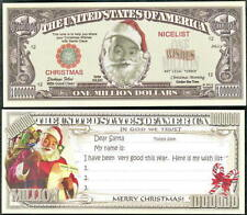 Santa Wish List Christmas Million Dollar Bill Fake Funny Money + FREE SLEEVE