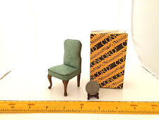 1/12 SCALE BROCADE UPHOLSTERY PADDED CHAIR NEW CONCORD IN ORIG BOX GORGEOUS