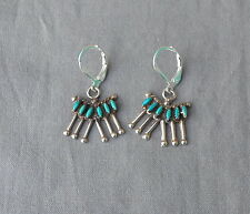 Vintage Zuni Sterling Silver Turquoise Needle Point Dangle Earrings