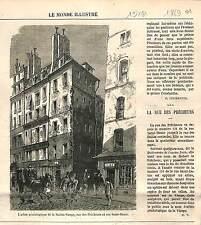 RUE DES PÊCHEURS PARIS Arbre généalogique SAINTE VIERGE MARIE ANTIQUE PRINT 1869
