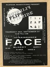 FLIPSIDE PRODUCTIONS AT THE ZAP BRIGHTON 1991 RAVE FLYERS FLYER