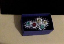 Swarovski Crystal. 5 Daisy Figurines. Muti Color. Marguerite Cake Toppers.