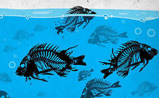 A4 Poster – Skeleton Piranha Fish Swimming in the Sea (Picture Print Animal Art)