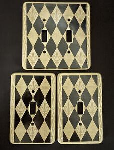 Harlequin Fleur de Lis Print Textured Ceramic Light Switch Covers (Set of 3) NEW