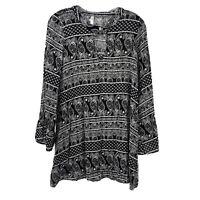 Interi Brand Black White Paisley Bell Sleeve Tunic Keyhole Long Sleeve Size M