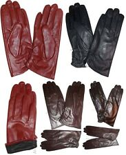 Lot of 3 New (S) Women's Leather Gloves, Unbranded Red Leather Warm Gloves BNWT*