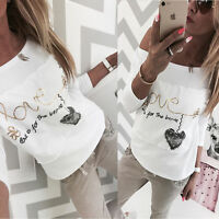 New Fashion Women Love Heart Printed Floral Long Sleeve Loose Top Blouse T Shirt