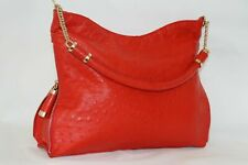 Authentic RED Ostrich leather bag Luxury Lady's hand shoulder Designer bag