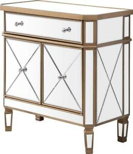 SIDE CABINET CONTEMPORARY BRUSHED STEEL GOLD CLEAR BLACK SOLID WOOD MIRRO