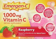 Emergen C 1000 mg Vitamin C Flavored Fizzy Drink Mix 30 Pack Raspberry 30 Ea